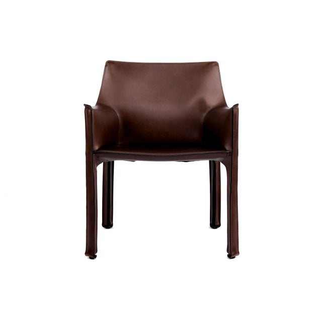 Mario Bellini Cassina Briar Root Saddle Leather Maxi Armchair For Sale - Image 4 of 4