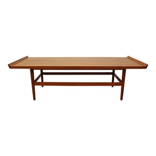 Mid-Century Danish Modern Flared Edge Parquet Top Coffee Table For Sale