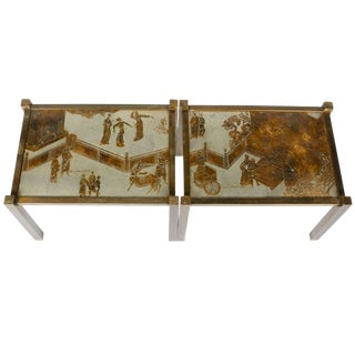 Pair of Etched Bronze Side Tables by Philip and Kelvin LaVerne, Usa, 1960s For Sale