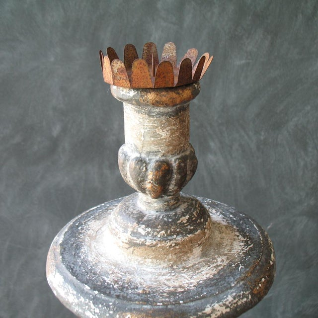 French Cathedral Style Candle Holder For Sale - Image 3 of 6