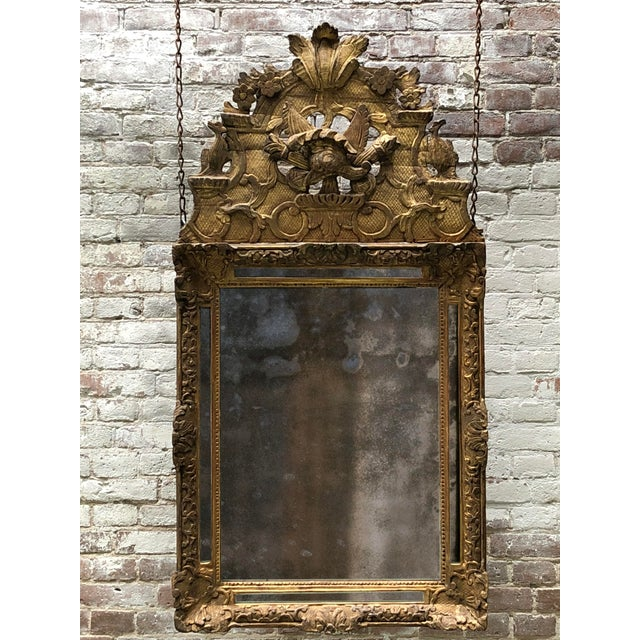 18th Century Carved Gilt Wood Louis XIV Mirror For Sale - Image 9 of 10