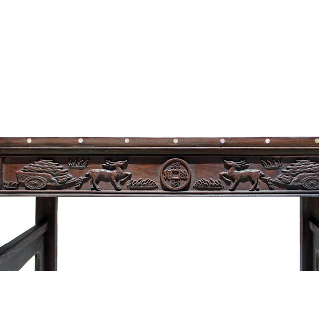 Chinese Brown Huali Rosewood Scroll Inlay Deer Fortune Motif Altar Table For Sale In San Francisco - Image 6 of 9