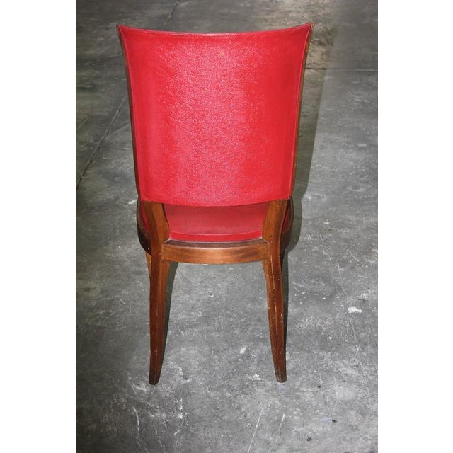 Set of Six French Art Deco Classic Solid Mahogany Dining Chairs, circa 1940s. - Image 6 of 10