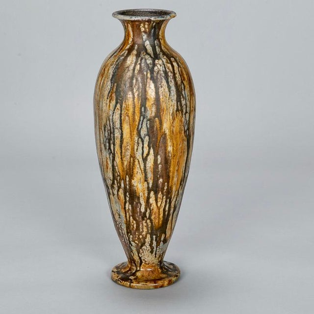 Art Deco Tall Narrow Signed Roger Guerin Pottery Vase For Sale - Image 3 of 8