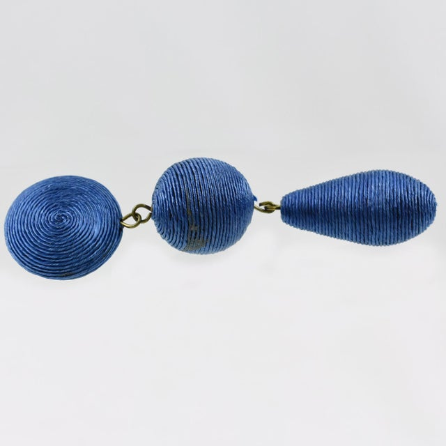 1980s 1980s Vintage Oversized Blue Thread Dangling Pierced Earrings For Sale - Image 5 of 6