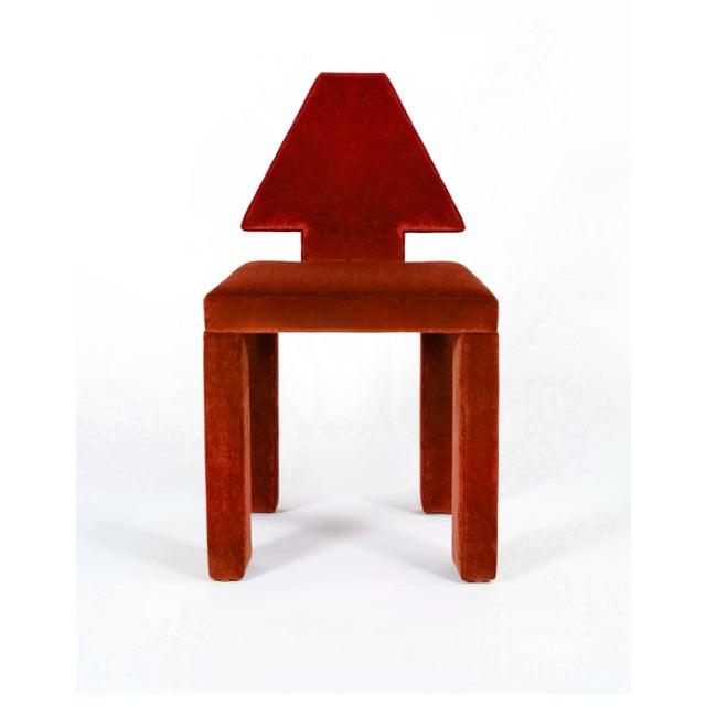 BOND Design Studio Contemporary Dining Chairs in Crimson Cotton Velvet - Set of 6 For Sale - Image 4 of 7
