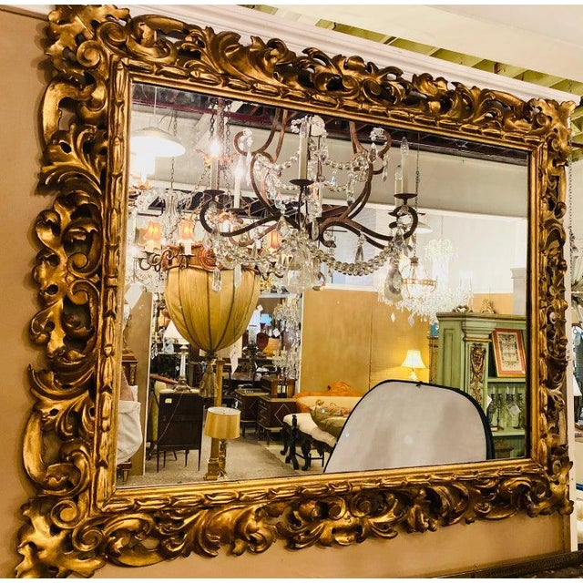 Gold Gilt Gesso Decorated Carved Wall / Console Mirror, Italian For Sale - Image 8 of 9