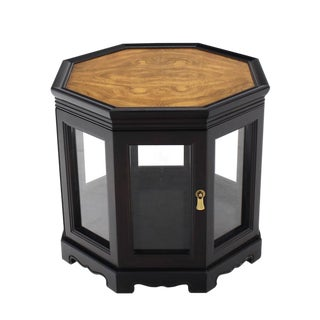 Hexagon Black with Burl Wood Top Cabinet Side Table For Sale