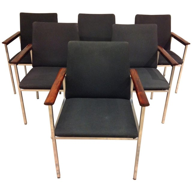 Black French Mid-Century Arm Chairs - Set of 6 For Sale - Image 8 of 8