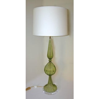 1960s Hollywood Regency Barbini Green Murano Table Lamp Preview
