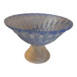 Art Deco Frosted Art Glass Pedestal Bowl For Sale