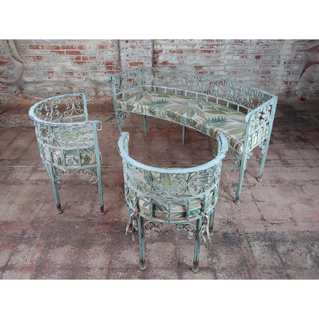Art Nouveau Antique Cast Iron Patio & Garden Settee & 2 Chairs Set For Sale - Image 10 of 10