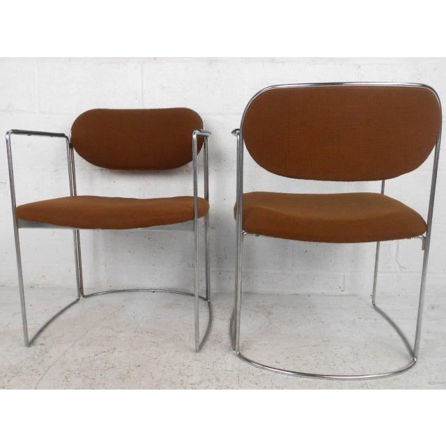 Mid-Century Chrome & Upholstery Office Armchairs - Set of 7 - Image 4 of 10