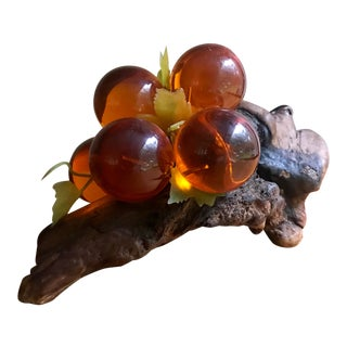 Mid Century Lucite Grape Cluster on Burl Wood For Sale