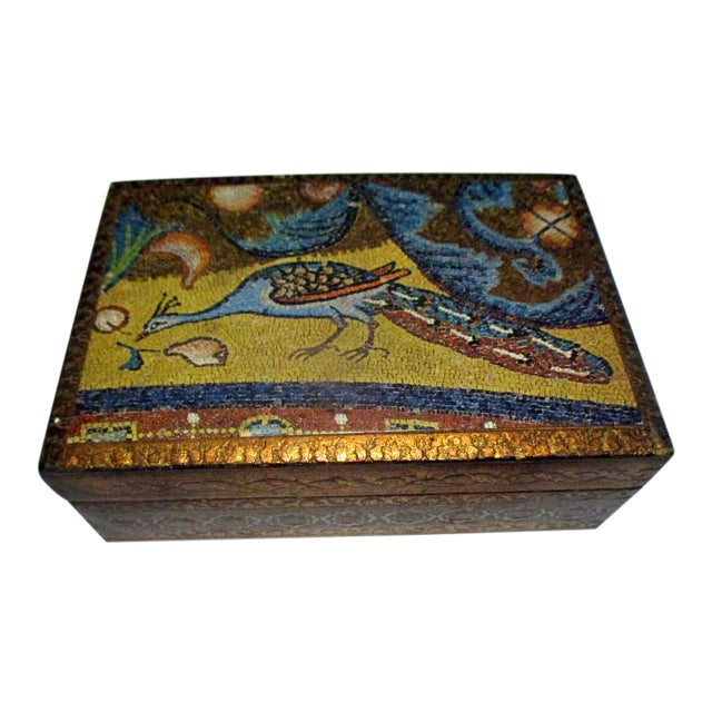 1970s Italian Florentine Decorative Box With Peacock Design For Sale