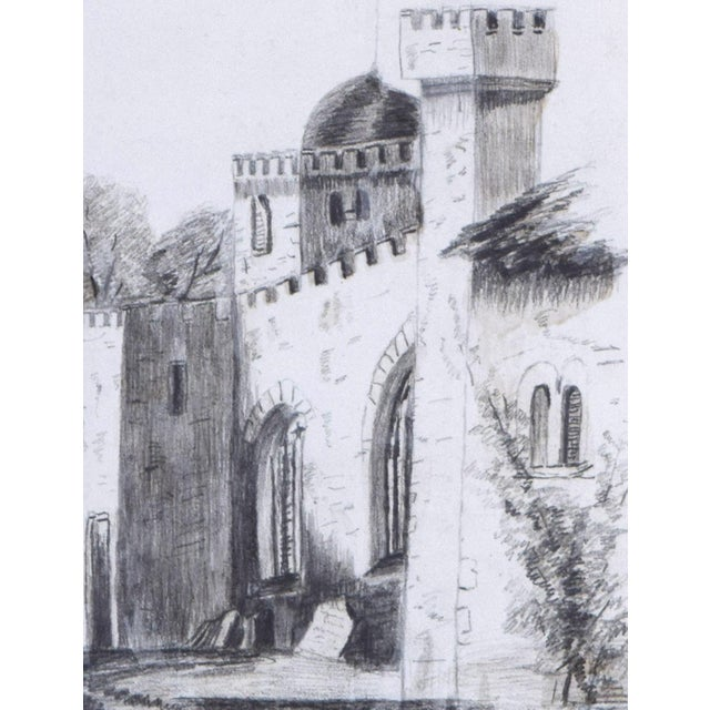 19th Century Antique English Graphite Castle Drawing For Sale In New York - Image 6 of 7