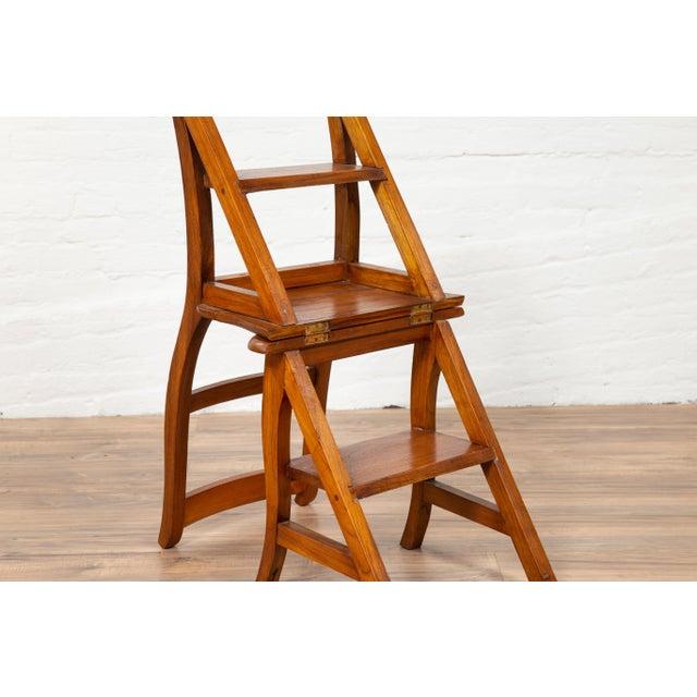 Brown Vintage Dutch Colonial Metamorphic Teak Step Ladder Folding Side Chair For Sale - Image 8 of 13