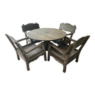 Reed Brothers Hand Carved Custom Redwood Furniture Dining Set For Sale