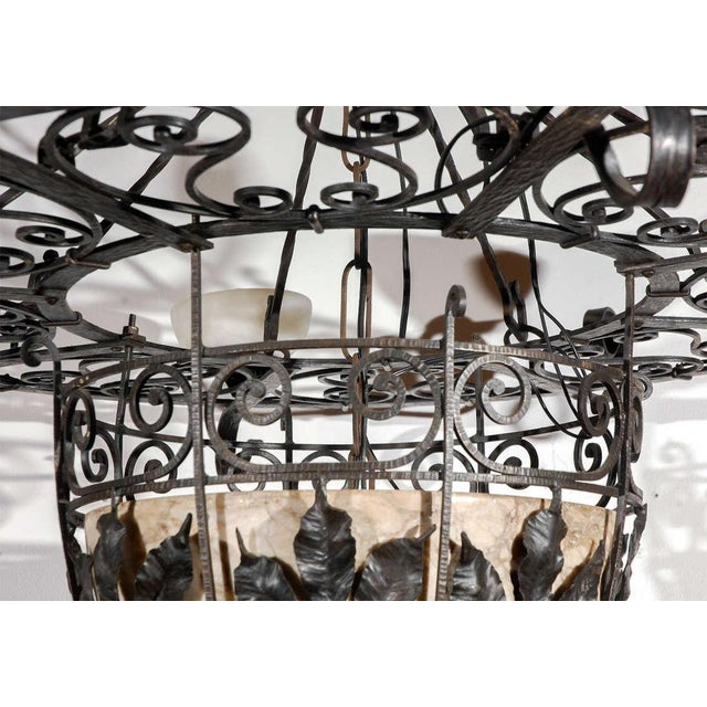 French Iron and Alabaster Fixture For Sale - Image 4 of 10