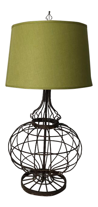 Contemporary Antiqued Metal Wire Office Table Lamp