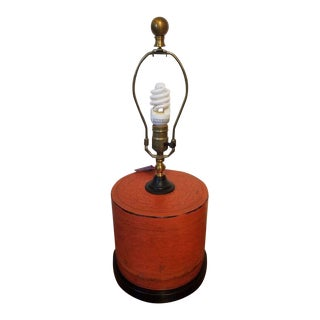 Antique Chinese Leather Canister Converted to a Lamp For Sale