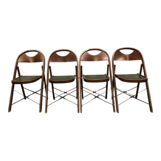 Vintage Bentwood & Metal Folding Chairs - Set of 4 For Sale