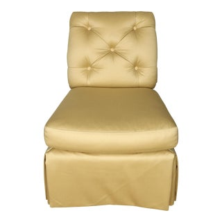 Baker Cream Upholstered Slipper Chair For Sale
