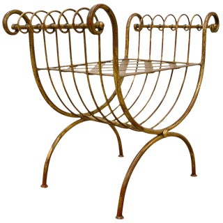 Italian Neoclassical Gilt Metal Bench Italy Circa 1950 For Sale
