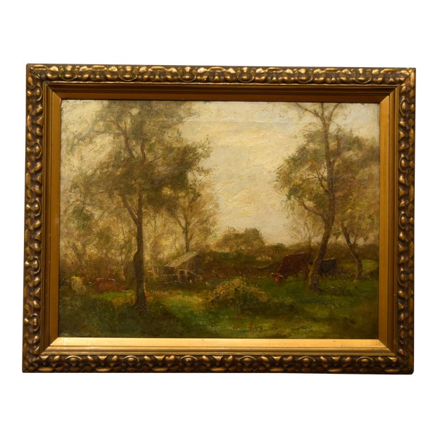 "Oil on Canvas-""Impressionist Landscape"" Signed Edwin Bottomley, Dated 1902 For Sale"