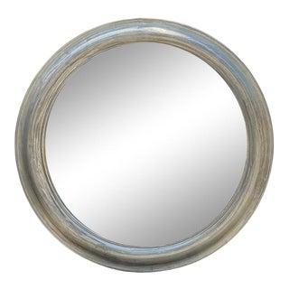 Jackson Paige Round Silver Leaf Beveled Portal Mirror For Sale