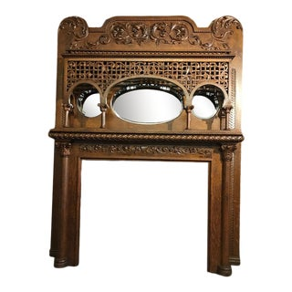 Late 19th Century Highly Carved Oak Fireplace Mantel For Sale