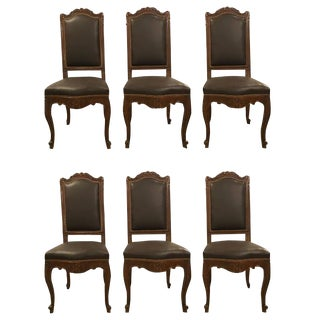 Louis XV Style Brown Leather Carved Side Chairs - Set of 6