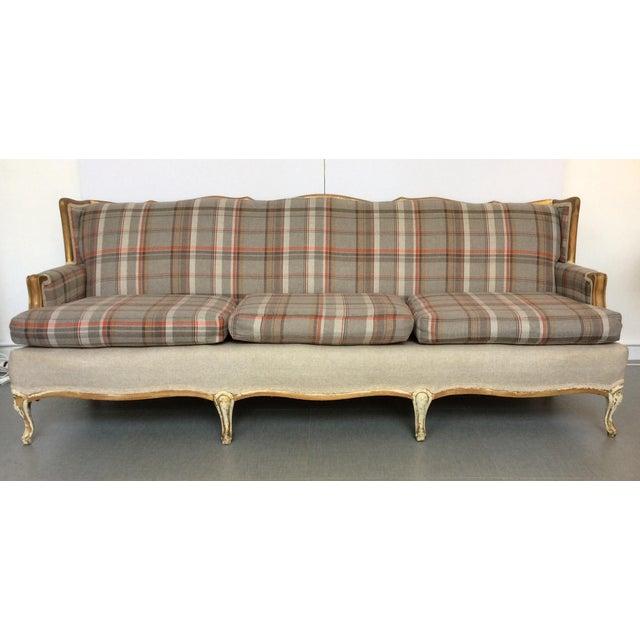 French-Style Tartan Wool Sofa - Image 2 of 6