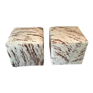 Contemporary Hair on Hide Ottomans - a Pair For Sale