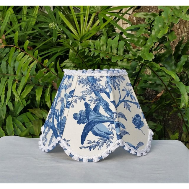 Blue White Toile Floral Clip On Lamp Shade For Sale In West Palm - Image 6 of 11