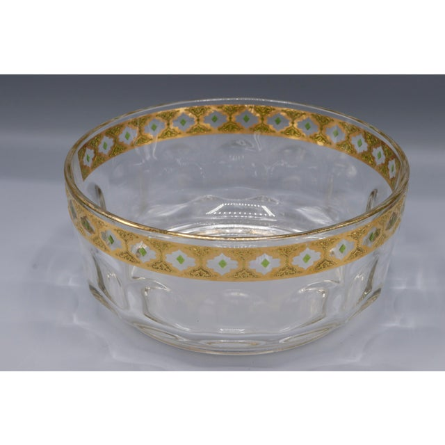Metal 1970s French Crystal Glass Bowl with Gold Trim on Top For Sale - Image 7 of 9