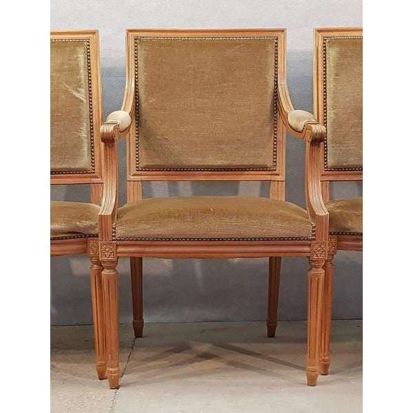 Textile Set of Five French Louis XVI Square Back Vintage Dining Chairs 4 Side Chairs and 1 Armchair For Sale - Image 7 of 13