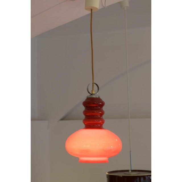 Midcentury hanging lamp made of glass & steel For Sale - Image 9 of 11