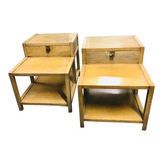 1950s American of Martinsville Stepped Side Tables - a Pair For Sale