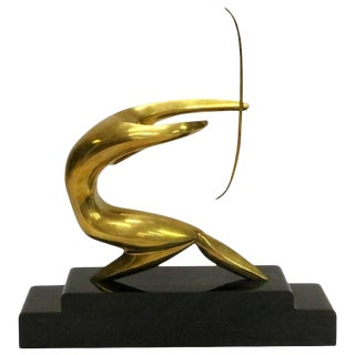 Modernist Brass Archer Sculpture Signed by Maxime Delo Circa 1970 For Sale