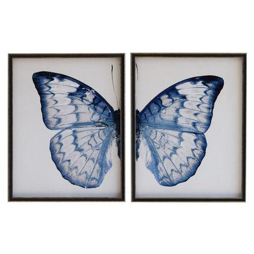 Split Blue and White Butterfly in black and silver moulding 2 frames make up this set.