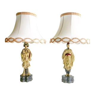 Vintage Chinoiserie Chalk-Ware Man & Woman Figure Lamps & Shades - a Pair