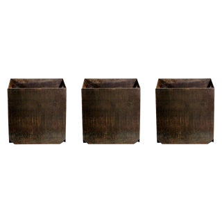 "Contemporary Design Frères Large ""Cubiste"" Patinated Steel Plate Planters - Set of 3 For Sale"