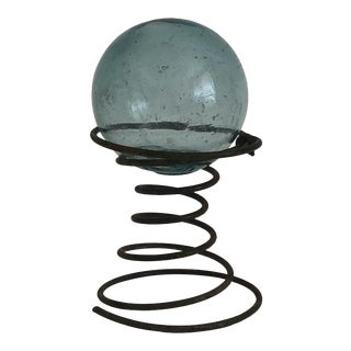 1960s Boho Chic Japanese Aqua Fishing Float on Stand For Sale