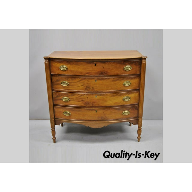 19th Century Sheraton 4 Drawer Mahogany Bow Front Chest Of Drawers For Sale - Image 13 of 13