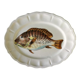 Vintage Italian Multi-Colored Brown Fish Scalloped Platter For Sale