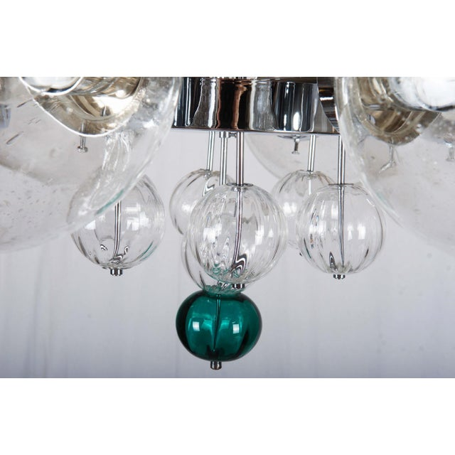 Brass Large Chandelier with Hand Blown Ball Lights by Kamenicky Senov, 1970s For Sale - Image 7 of 11