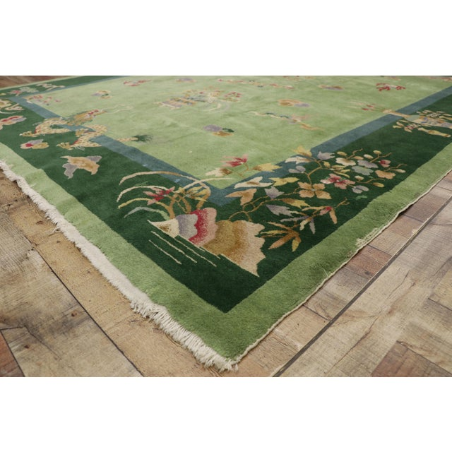 Green Antique Chinese Art Deco Rug - 7′8″ × 8′9″ For Sale In Dallas - Image 6 of 9