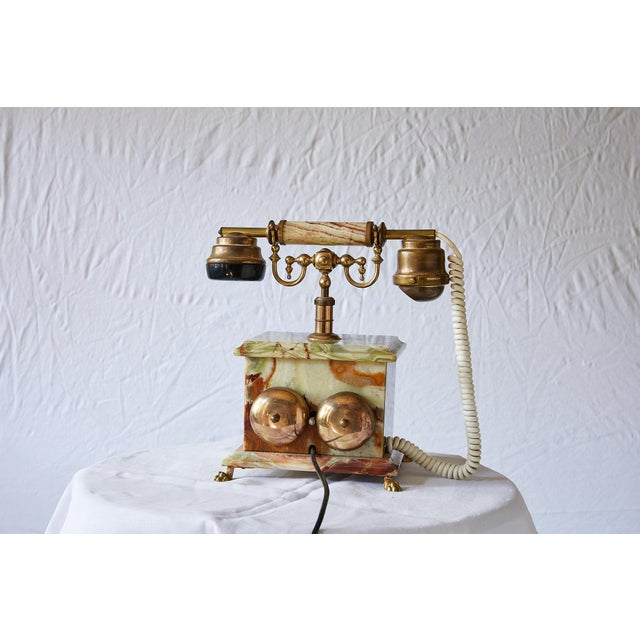 Vintage Italian Green Onyx and Gilded Bronze Telephone For Sale In Atlanta - Image 6 of 13