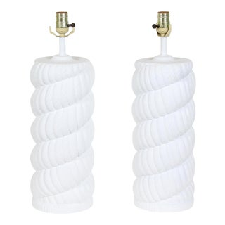 Pair of Rope Plaster Table Lamps, Mid Century Plaster Table Lamps, White Plaster Lamps For Sale